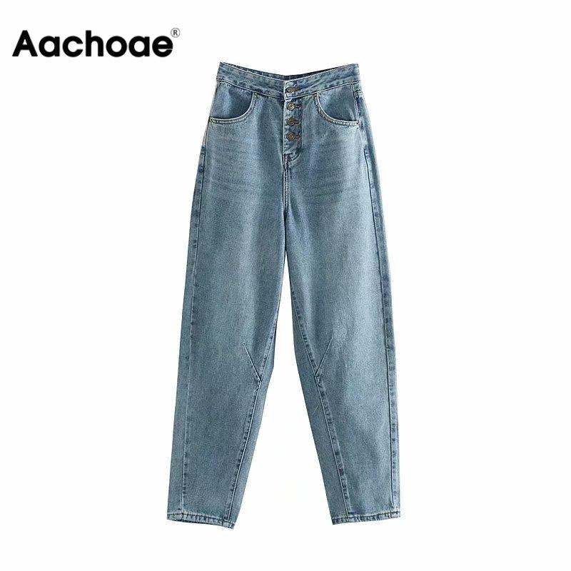Women Fashion High Waist Mom Jeans 2020 Streetwear Button Fly Long Denim Harem Pants Stylish Pockets Ladies Jeans Trousers