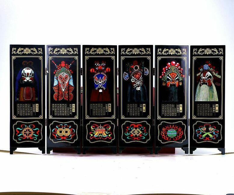 Collection  Chinese Lacqure Handwork Painting Peking Oppera Screen Scroll