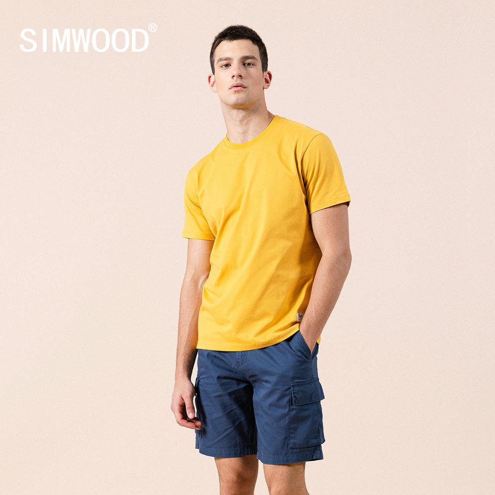SIMWOOD 2021 summer new solid t shirt 100% cotton  Compact Siro Spinning O neck Tops High Quality plus size clothes SI980698