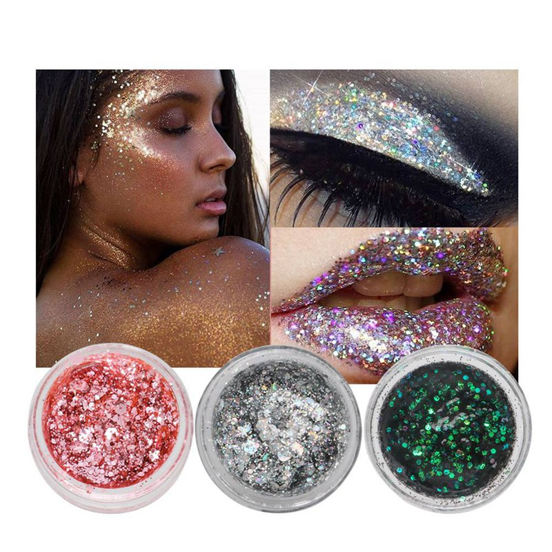 2019 New Silver Glitter Eyeshadow 7 Color  Eyes Palette Monochrome Eyes Shimmer Powder Makeup Festival Face Jewels