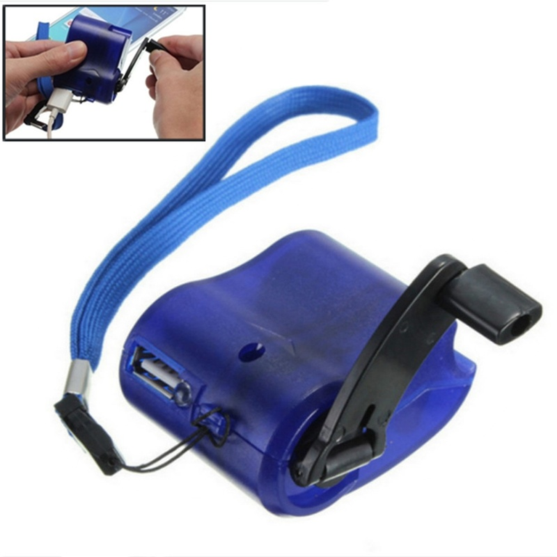 1PC USB Phone Emergency Charger For Camping Hiking EDC Outdoor Sports Hand Crank Travel Charger Camping Equipment Survival Tools