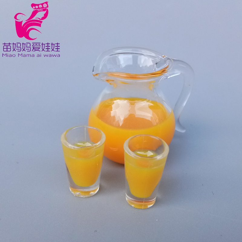 Mini Doll House Decoration Drink Orange Guice Milk Pots Red Wine Bottle Beer For Barbie Blythe Licca Doll Accessories