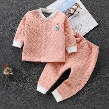 Winter Baby Thermal Pajama Newborn Baby Sleepwear Clothes Bebes Boys Girls Pajamas Set Warm Cotton Long Johns Kids