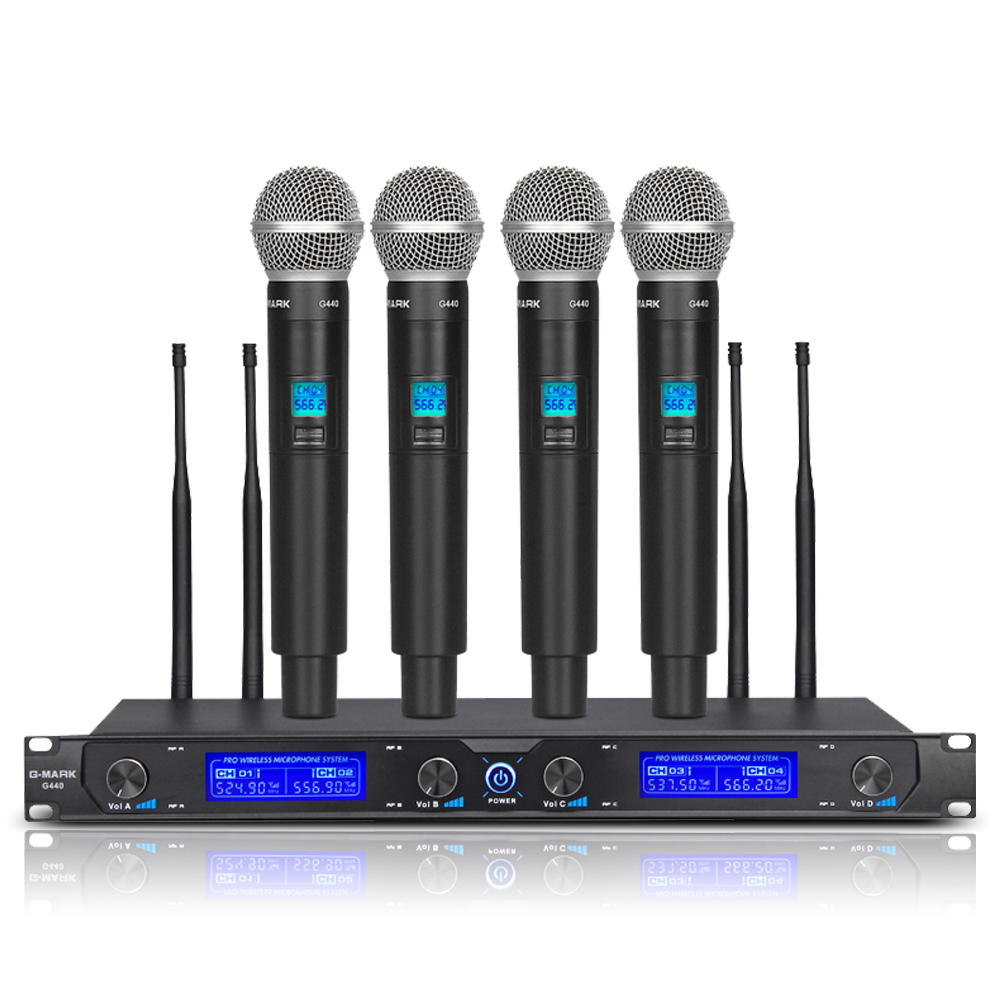 G-MARK G440 Wireless Microphone System Professional Four Channel Dynamic Pro 4 Handheld Mic Karaoke Party Stage title=
