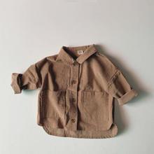 Autumn New Baby Boys Large Pocket Lapel Corduroy Shirts Work Coat Jacket Clothes Kids Coat Jackets Boys Outerwear