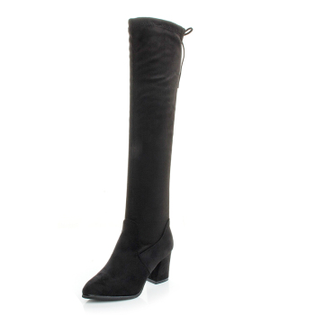 Winter 2021 Women's Shoes Black Temperament High Heel Work Boots Warm Calf Boots Knee Length 50 Cm High Quality Martin Boots image
