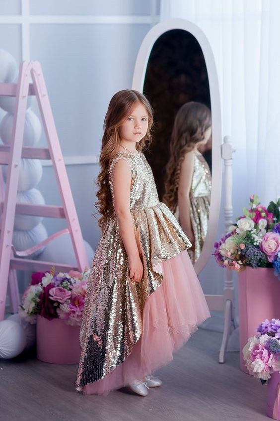 Golden Sequin High Low Girls Birthday Party Dresses Evening Dresses High Low Gold Lace Dresses Custom