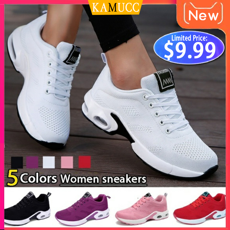 Fashion Women Lightweight Sneakers Running Shoes Outdoor Sports Shoes Breathable Mesh Comfort Running Shoes Air Cushion Lace Up title=