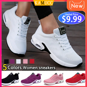 Moda damska lekkie buty sportowe buty do biegania buty sportowe oddychająca siatka komfort buty do biegania poduszka powietrzna zasznurować tanie i dobre opinie KAMUCC Mesh (air mesh) Wiosna jesień Med (3 cm-5 cm) Pasuje prawda na wymiar weź swój normalny rozmiar Lace-up Plecionka