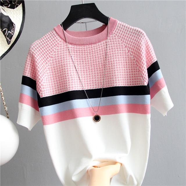 Fashion Plaid T Shirt Women Striped Tshirt Knitted Cotton 2020 Korean  Woman Clothes Tee Shirt Femme Camisetas Mujer 8782 50