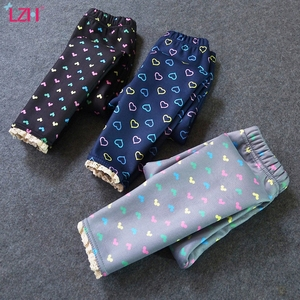 LZH 2020 New Winter Girls Warm Pants Winter Children Plus Velvet Thickening Outwear Pants Cartoon Printing Slim-fit Lace Pants