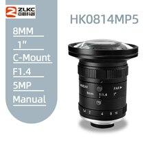 Objectif de caméra fixe 8mm, objectif de caméra à focale fixe, 5 mégapixels, HD CCTV 1 pouce F1.4 manuel Iris, c mount, à faible distorsion, nouveau modèle