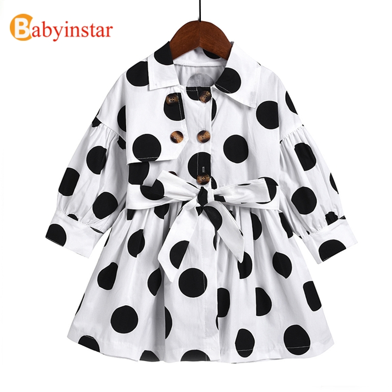 Babyinstar 2020 New Polka Dot   Trench   For Baby Girls Clothes Windbreaker Fall Jacket Fashion Style Long Sleeve Toddler Child Coat