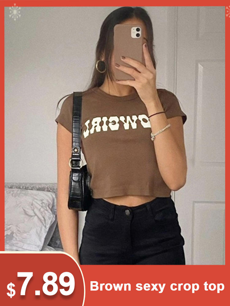 Streetwear T-Shirt Tees Pullover Short-Sleeve Crop-Tops Letter Print Vintage Sexy Casual