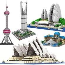 цена на Diamond No Compatible Architecture Sydney Opera House Big Ben Eiffel Tower London Pair Louvre Model Building Block toy