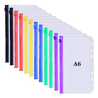 Aasjbofa Binder Pockets A5/A6 Binder Loose Leaf Bag Clear Zipper Folders For 6-Ring Notebook Binder Pouch Document Filing Bags