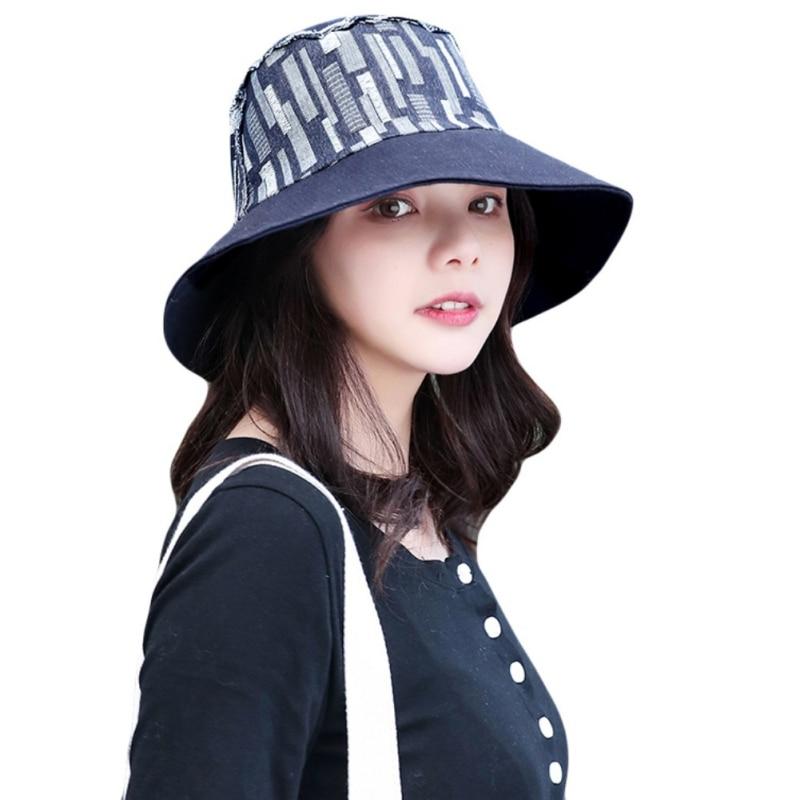 Women Bucket Hat Summer Cotton Retro Leisure Bob Caps Outdoor Breathable Dome Panama Cap Ladies Wide Brim Sun Hat Sportswear