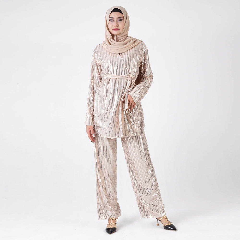 2021 Muslim New Instagram Dubai Sequin Embroidered High Pop Top and Trousers Suit for Women's Wear European Clothing Abaya