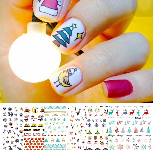 3D Nail Sticker Christmas Halloween Christmas Tree Deer Snow Nail Water Decals Nail Art Transfer Stickers  Nail Decorations DIY