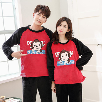 Autumn And Winter Couples Pajamas Long Sleeve Flannel Black Red Monkey Thick Coral Velvet Set