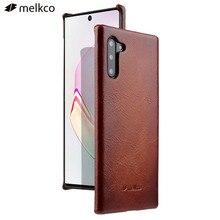 حافظة جلدية أصلية من Melkco لهاتف Galaxy نوت 10 + Plus نوت 9 نوت 8 غطاء واقٍ مزخرف لهاتف آيفون