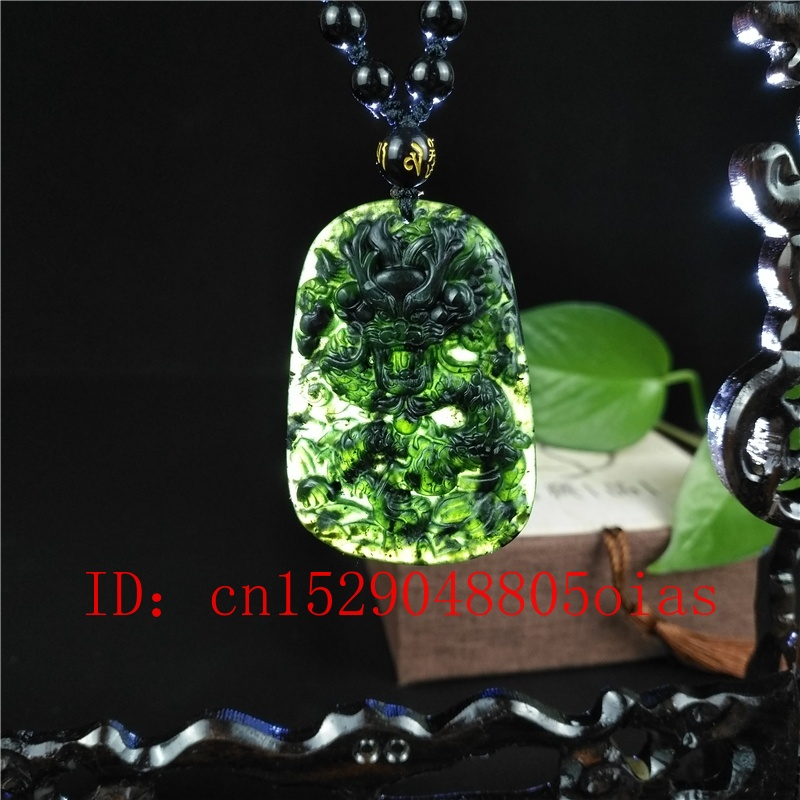 Fine Natural hand-carved black green Jadeite jade Leaf pendant necklace