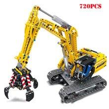 Blocs de Construction de véhicule pelleteuse, briques d'ingénierie de Construction de ville de haute technologie, jouets éducatifs pour enfants, cadeaux