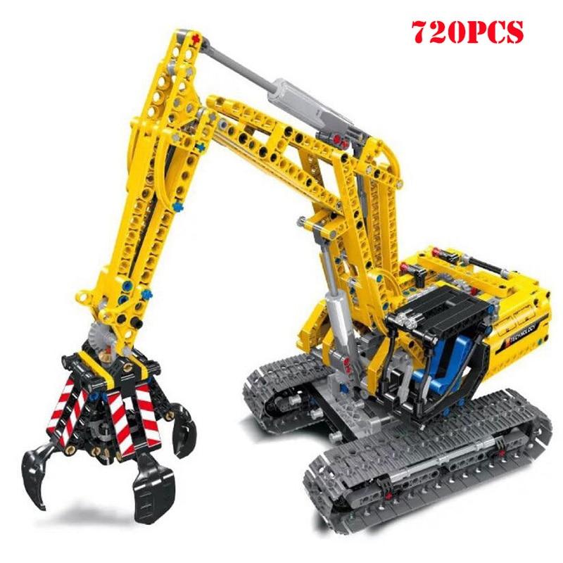 Modelo de escavadeira veículo blocos de construção técnica cidade engenharia tijolos criança brinquedos educativos para crianças presentes
