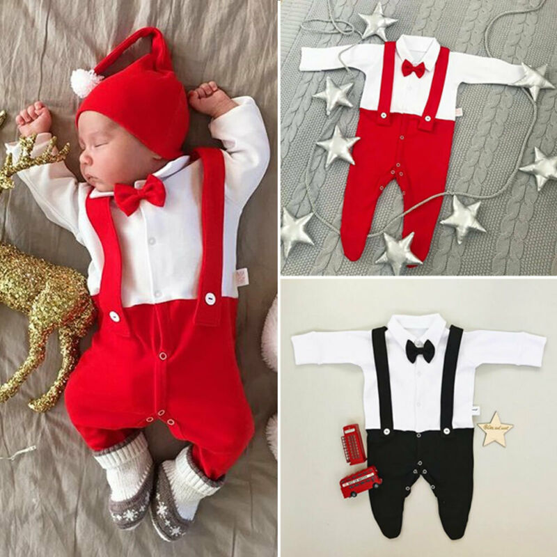 Newborn Baby Boys Footies Clothes Autumn Baby Boys Jumpsuits Red Black Bow Tie Pladysuits Long Sleeve Baby Boys Clothes Outfit
