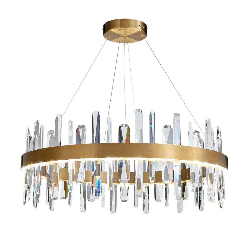 Postmodernistyczne luksusowe K9 kryształ wisiorek Led światła salon Lustre stalowo-złoty wisiorek Led lampa zawieszenie lampy wiszące oprawy oświetleniowe