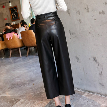 Autumn Faux PU Leather Pants Women With Belt High Waisted Wide Leg Anke-length Women's Trousers 2020 Spring NEW Fashion Clothes 2