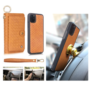 Image 5 - Multifunctional fashion woven pattern zipper FHX SB mobile wallet for iPhone 6S 7 8 Plus X XR XS MAX 11 11Pro MAX mobile wallet