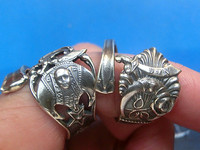 The masonic classic 】 925 sterling silver sword meniscus pentagram silver spoon ring single sale