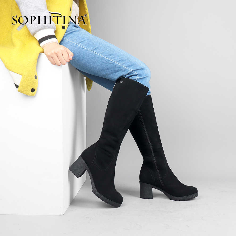 SOPHITINA Handmade อบอุ่น BOOT คุณภาพเด็ก Suede รอบ Toe สแควร์ส้นรองเท้าเซ็กซี่เข่า-สูงผู้หญิง PARTY รองเท้าลำลอง B24
