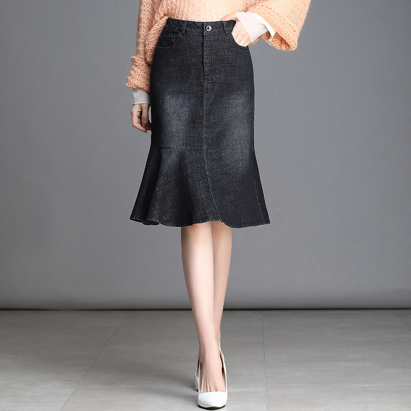 Black And White With Pattern Denim Skirt Spring And Autumn Women's 2019 New Style Mid-length High-waisted Sheath Fishtail Skirt