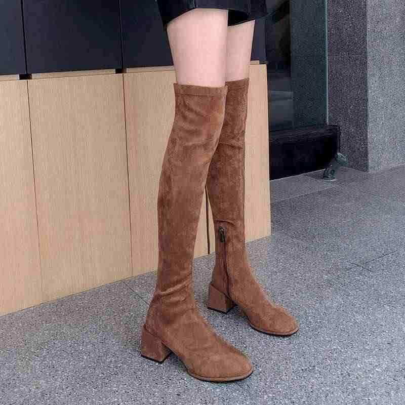 Krazing pot güzellik bayan günlük giyim yumuşak streç akın çizmeler yuvarlak ayak yüksek topuklu yan fermuar tutmak sıcak kadınlar uyluk yüksek çizmeler L90