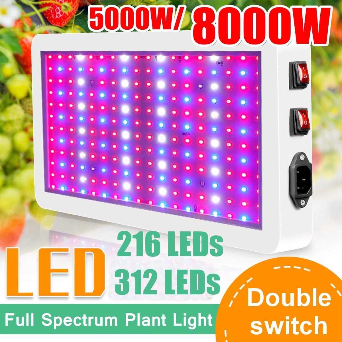 Gesamte Spektrum mit LED Wachsen Licht Panel 8000W Pro Wachsen Lampen Hydrokultur Hängen Kit für Indoor Pflanzen AC85 zu 265V