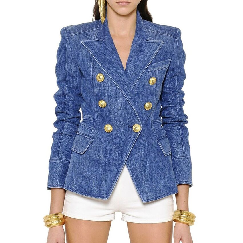HIGH STREET New Fashion 2020 Designer Blazer Jacket Women's Metal Lion Buttons Double Breasted Denim Blazer Outer Coat