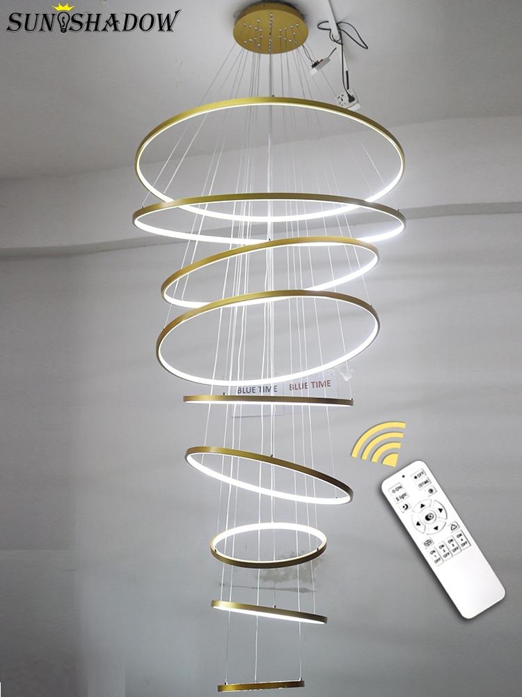 Modern Led Chandelier For Lobby Hotel Living Room Luminiare 9Circle Rings 100cm Rings Chandelier Lighting Hanging Lamp 110V 220V