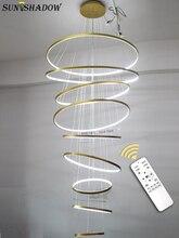 Современный из светодиодов люстра для фойе гостиной Luminiare 9Circle кольца 100см освещение подвесной светильник 110В 220В