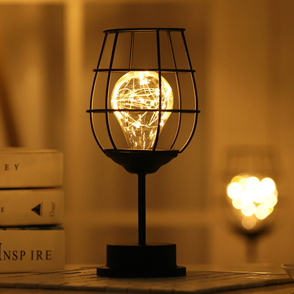 KTV Led Night Light Table Lamp Iron Art Unique Warm White Decoration Battery Powered Retro Durable Home Hotel Wine Bottle
