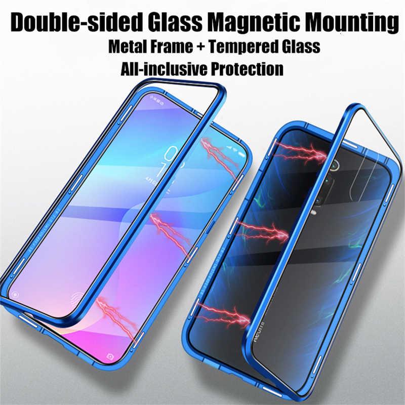 両面磁気吸着金属ケースシャオ mi mi 9 SE CC9 A2 A3 Lite F1 ガラスカバーのための赤 mi K20 注 8 7 10 プロケース