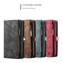 CaseMe 008 para iPhone 2019 /6 /6S/ 7 /8 Plus/ XS Max de cuero genuino con cremallera cartera multifunción 2 en 1 diseño funda de teléfono