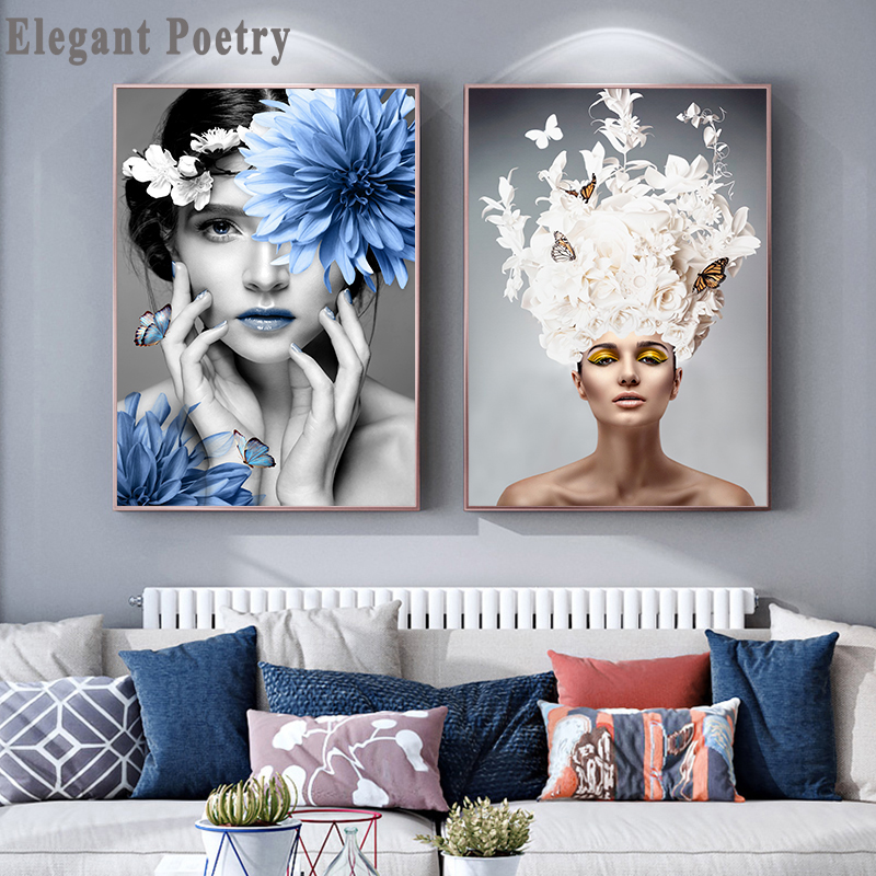 Scandinavian Flower Woman Wall Art Canvas Print Abstract Poster Painting Decoration Picture Nordic Modern Living Room Decor
