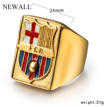Newall Stainless steel Spanish National Emblem Ring Fashion Cross Letter ring high quality Titanium Memorial Gift jewelry