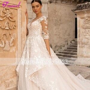Image 5 - Fsuzwel muhteşem aplikler gelin mahkemesi tren dantel A Line düğün elbisesi 2020 büyüleyici Scoop boyun yarım kollu prenses gelin kıyafeti