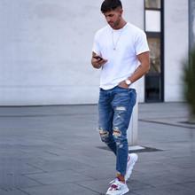 Moda na co dzień Plus rozmiar mężczyźni dżinsy stałe szczupła kostki długości spodnie jeansowe Hole kostki długość Streetwear tanie tanio BIUZKO Zipper fly light Otwór Midweight men ankle length jeans Zmiękczania Ołówek spodnie