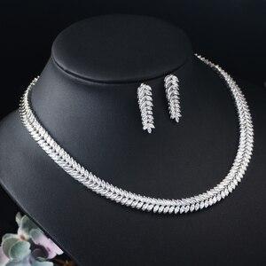 Image 5 - CWWZircons Marquise Cut Bunte Zirkonia Steine Braut Runde Choker Halskette Ohrring Set für Frauen Hochzeit Schmuck T074