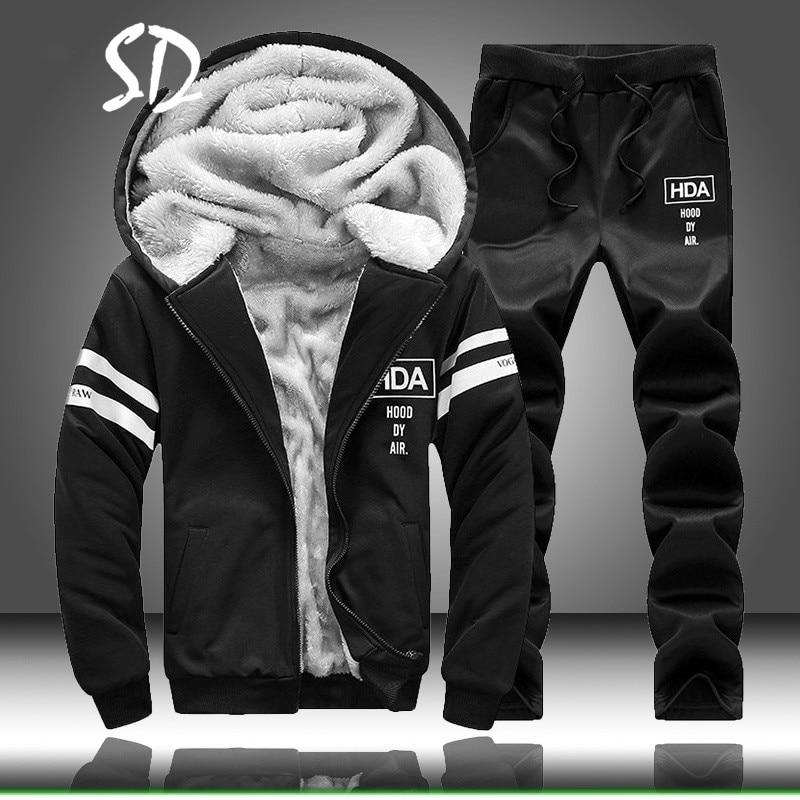 Tracksuit Men Fleece Hoodies Set 2019 Warm Sweatshirt Print Jogging Homme Thick Hoodie+Pants Sportswear Tracksuit Top And Pants