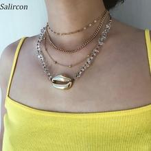 Salircon Long Pendant Chain Necklace Geometric Gold Sliver Alloy Shell Choker Necklace Transparent Stone Chain Necklace Women цена и фото